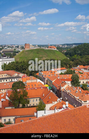 View of Old Town, Pilies gatve and Gediminas Tower, Vilnius, Lithuania - Stock Photo
