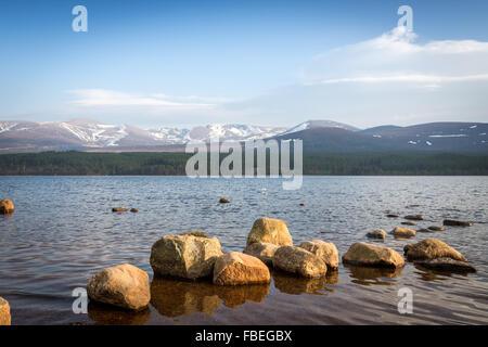 Loch Morlich, Aviemore, Badenoch and Strathspey, Scotland. Europe. - Stock Photo