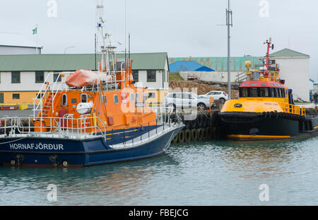 Iceland Hofn village fishing boating colorful ship abstrracts in marina port - Stock Photo