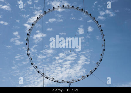 Directly Bellow Shot Of Birds Flying In Sky Seen Through Circular Halogen Light - Stock Photo