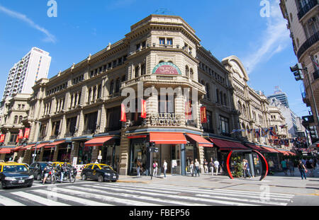 Buenos Aires Argentina Galerias Pacifico famous Mall for shopping and dining in city center entrance and traffic - Stock Photo