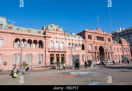 Buenos Aires Argentina Plaza de Mayo with Pink House Casa Rosada in square in city center with Argentine flag - Stock Photo