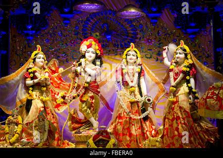 Idols of Lord Krishna and Radha in ISKCON Temple Chennai, Madras, Tamil Nadu, India, Asia - Stock Photo