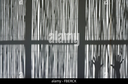 Cropped Hand On Window - Stock Photo