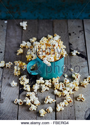 Mint cup full of popcorn - Stock Photo