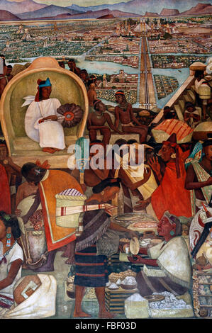 The Great City of Tenochtitlan by Diego Rivera - Stock Photo