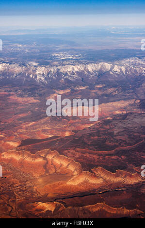 Aerial view of mountains and desert, approaching Las Vegas - Stock Photo