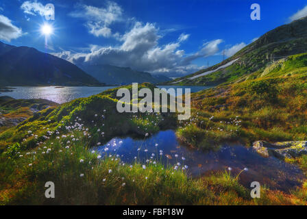 Amazing view of small lake near Totensee lake on the top of Grimselpass. Alps, Switzerland, Europe. - Stock Photo