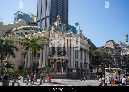 Municipal Theatre, Theatro Municipal, Cinelandia, Praca Floriano Peixoto, Rio de Janeiro, Brazil - Stock Photo