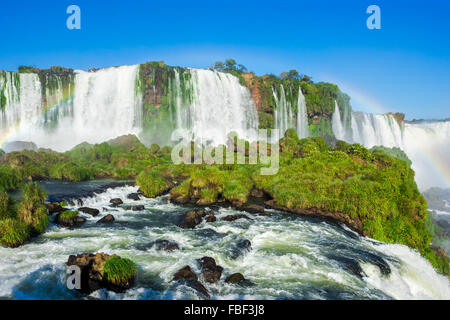 Iguazu Falls, on the border of Argentina, Brazil and Paraguay. - Stock Photo