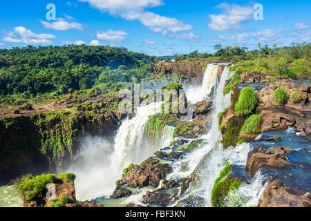 Iguazu Falls, on the border of Argentina and Brazil. - Stock Photo