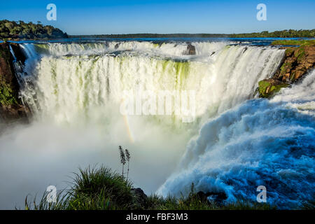 Devil's Throat at Iguazu Falls, one of the world's great natural wonders, on the border of Argentina and Brazil. - Stock Photo