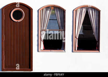 Close up of the Door and windows on The New Orleans Steamer Moored in Henley - Stock Photo
