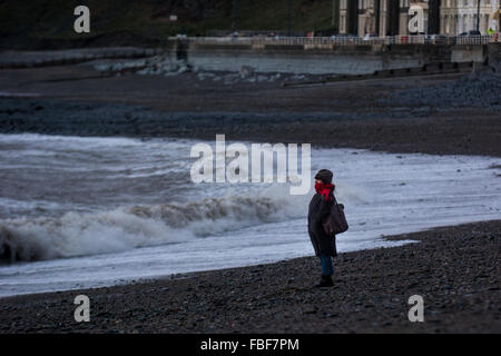 Aberystwyth, West Wales, UK 15th January 2016 - A lone woman looks out to sea on what is a blustery end to a varied - Stock Photo