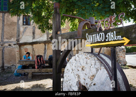 9/9/14 Pilgrim resting along Camino de Santiago in Agés, Burgos, Castilla y Leon, Spain - Stock Photo