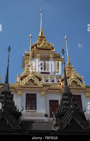 Spires of Loha Prasat (Iron Palace), Wat Ratchanatdaram temple complex, Bangkok, Thailand, Asia. - Stock Photo