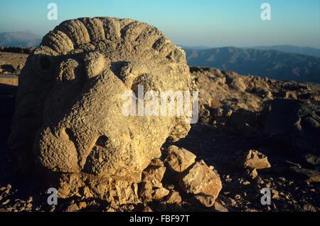 Ancient Antique Lion Sculpture on the East Terrace of Nemrut Dagh, Nemrut Dagi, Mount Nemrut or Nemrud (1st BC), - Stock Photo