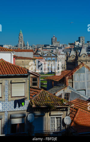 Cityscape looking over rooftops in Porto, Portugal - Stock Photo