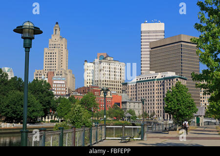 Skyline & Providence River, Providence, Rhode Island, USA - Stock Photo