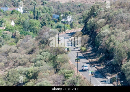 BLOEMFONTEIN, SOUTH AFRICA, JANUARY 14, 2016: The road leading to the statue of Nelson Mandela and the viewpoints - Stock Photo