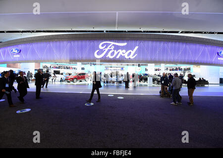 Detroit, Michigan, USA. 12th Jan, 2015. The Ford stand seen during the second press day at the North American International - Stock Photo