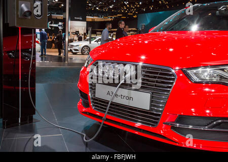 Detroit, Michigan - The Audi A3 e-tron plug-in hybrid electric car on display at the North American International - Stock Photo