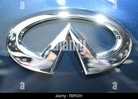 Detroit, Michigan, USA. 12th Jan, 2015. An Infiniti logo seen during the second press day at the North American - Stock Photo