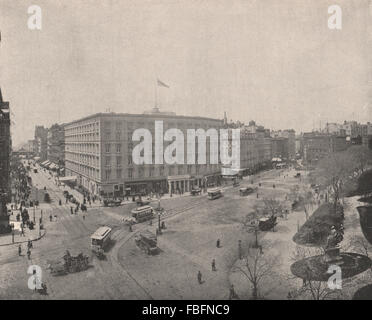 Fifth Avenue and Madison Square, New York City, antique print 1895 - Stock Photo
