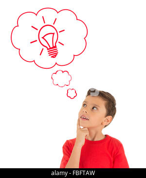 Boy thinking with light bulb in bubbles - Stock Photo