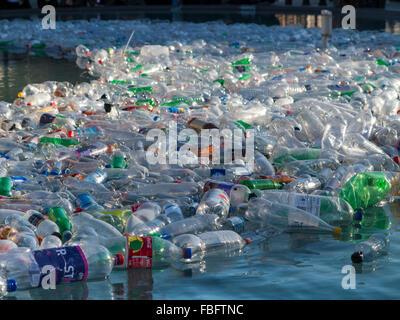 Bottles in a fountain in Trafalgar Square - Stock Photo