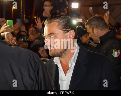 Rome, Italy. 15th Jan, 2016. Actor Leonardo DiCaprio arrives in Rome leg of a European tour to promote his latest - Stock Photo