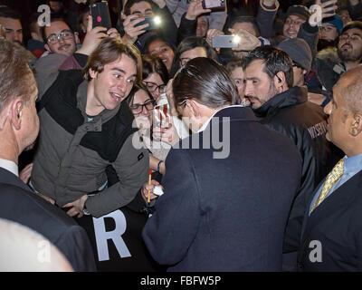 Rome, Italy. 15th Jan, 2016. Actor Leonardo DiCaprio arrives in Rome leg of a European tour to promote his latest - Stock Photo