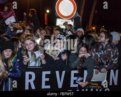 Rome, Italy. 15th Jan, 2016. Fans Italian American actor Leonardo DiCaprio desperately await his arrival in Rome, - Stock Photo