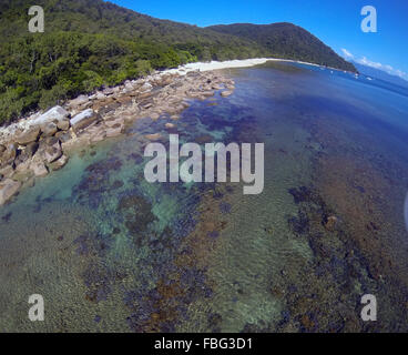 Aerial view of fringing reefs and coastline of Fitzroy Island, Great Barrier Reef Marine Park, Queensland, Australia - Stock Photo