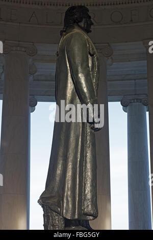 Thomas Jefferson statue inside his memorial in Washington DC, USA.