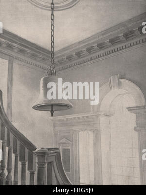 Liberty Bell in Independence Hall, Philadelphia, Pennsylvania, old print 1895 - Stock Photo