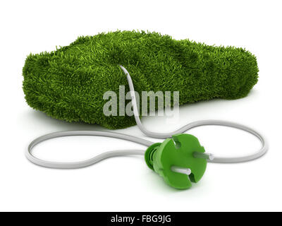 Green car covered with grass texture connected to the electric plug. - Stock Photo