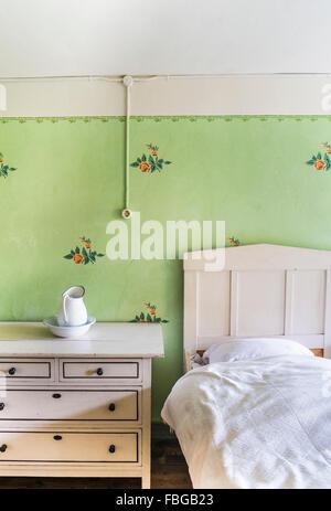 historic farmhouse bedroom, open-air museum, wackershofen, schwaebisch hall, baden-wuerttemberg, germany - Stock Photo