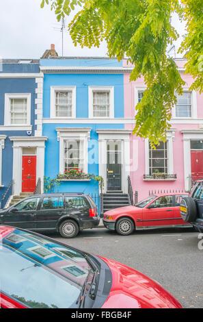 colorful houses, denbigh terrace, notting hill, london, england - Stock Photo
