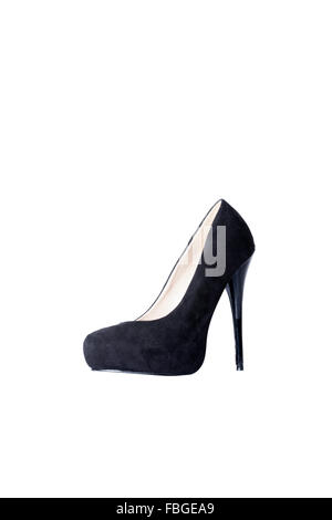 Suede and leather black womems stilettos. - Stock Photo