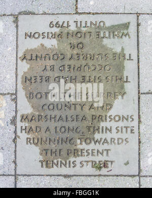 Plaque on the former  site of the Marshalsea Prison - The surviving remains of the notorious prison in Southwalk, - Stock Photo