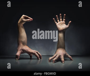 Strange human hands - Stock Photo