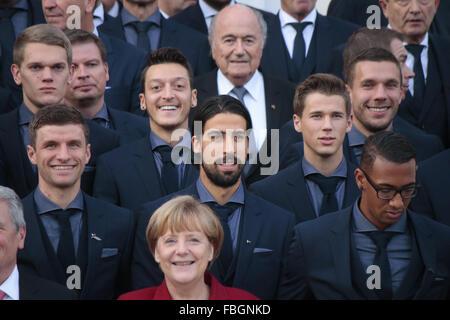 Thomas Mueller, Matthias Ginter, Andreas Koepke, Mesut Oezil, Sami Khedira, Sepp Blatter, Erik Durm, Lukas Podolski, - Stock Photo