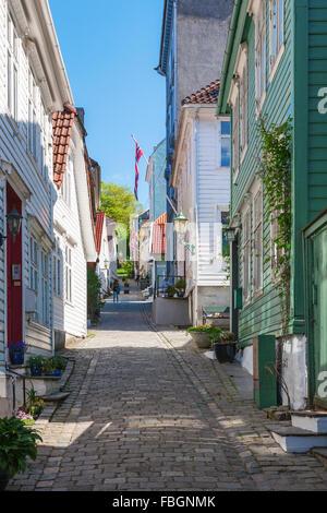 Narrow alley in Bergen, Norway - Stock Photo