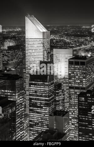 Black & White New York Midtown aerial view at nigh, with one of the tallest skyscrapers of Manhattan: the Citigroup - Stock Photo
