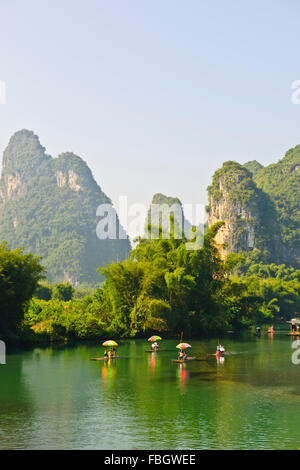 Karst Mountain Peaks,Bamboo Rafting,Yangshuo River Yulong,Gaotian Town, Guangxi Province,PRC,People's Republic of - Stock Photo