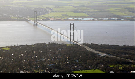 aerial view of the Humber Bridge, UK - Stock Photo