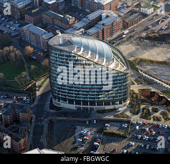 aerial view of One Angel Square, Manchester, UK - Stock Photo