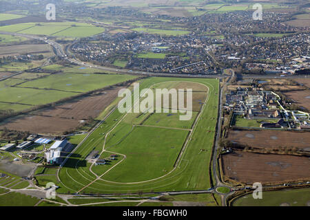 aerial view of Wetherby and the Racecourse, Yorkshire, UK - Stock Photo