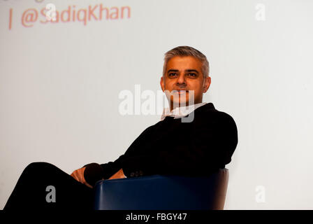 London, UK. 16th Jan, 2016. Sadiq Khan MP for Tooting Labour party's candidate to be Mayor of London addresses the - Stock Photo